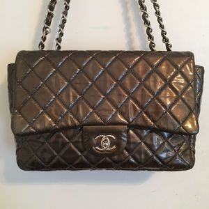Chanel Gunmetal Patent Jumbo SHW Bag Authentic